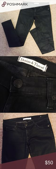 Skinny Coated Jeans from Denim & Thread Coated Black skinny Jeans from Denim & Thread. Stylish and looks like shiny leather pants but with denim feels.  Gently worn with little signs of wear but no tears. *I wear 26 so it wasn't so skinny skinny for me but really goes well with simple white tee and other night out tops. If someone at 27 wore it will be perfect skinny. Denim & Thread Jeans Skinny