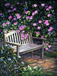 Painting: Rose Garden, Florals & Through the Garden Gate Series © Paintings by Shirley Reade Easy Flower Painting, Garden Painting, Flower Art, Easy Landscape Paintings, Watercolor Landscape, Watercolor Paintings, Garden Gates, Garden Art, Garden Design