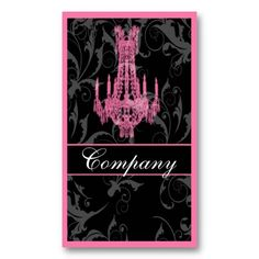 Chic pink chandelier Business Cards
