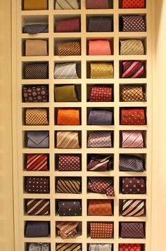 cubbies for creatively showcasing colorful tie collection.     Photo by Kara Weik