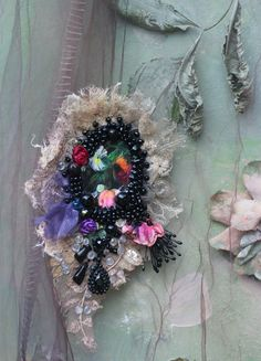 Night garden  brooch- bold brooch, antique lace, embroidered and beaded brooch, mixed media