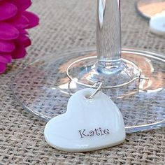Set Of 10 Personalised Party Glass Charms - table decorations