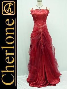 Cherlone Satin Red Lace Ball Gown Wedding/Evening Formal Bridesmaid Dress 8-10 | eBay.....shame I've got no occasion to  coming up to wear this dress....love it!!!