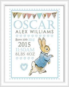 Peter Rabbit Personalised Name Picture Print Art Christening Gift Nursery Baby in Baby, Christening & Gifts, Christening Personalised Christening Gifts, Christening Gifts For Boys, Boy Christening, Peter Rabbit Nursery, Peter Rabbit Party, Beatrix Potter Nursery, Box Frame Art, Godfather Gifts, Nursery Pictures
