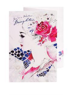 Rose Embellished Portrait Birthday Card - For Daughter