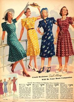 Vintage Hairstyles Four wonderful short sleeve daywear dresses from Sears, 1930s Fashion, Retro Fashion, Trendy Fashion, Vintage Fashion, Victorian Fashion, Fashion Fashion, Street Fashion, Fashion Brands, Vintage Outfits