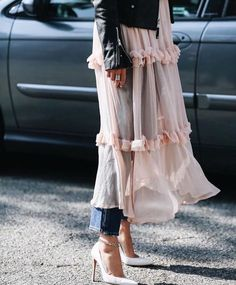 sheer dress over slim cut denim