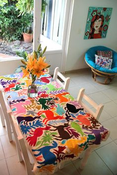 Multi colored Table Cloth Otomi piece by CasaOtomi on Etsy,     www.casaotomi.com Tenango, Otomi, Casa otomi, Casaotomi, Mexican Suzani, Mexican, wedding, Textile, Fabric, Hand Embroidered, embroidery, table runner, cushion, pillow, authentic, wall hanging,