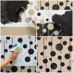 Our Uzma Circles Raven + Lily Stencil is inspired by Middle Eastern design. Use it for a feature wall for a bohemian feel or a whole room for a modern look.