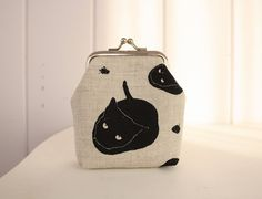 Curious Cats silk screen printed mini clasp purse Emen Gee Designs