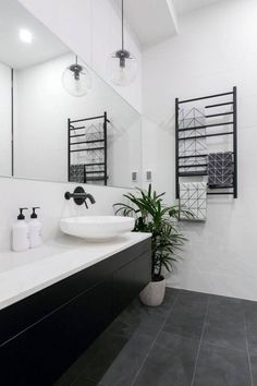 31 Interesting Black And White Bathroom Design Ideas. If you are looking for Black And White Bathroom Design Ideas, You come to the right place. Below are the Black And White Bathroom Design Ideas. White Bathroom Designs, Bathroom Toilets, Minimalism Interior, Bathroom Floor Tiles, Black Bathroom, Bathrooms Remodel, Laundry In Bathroom, Minimal Bathroom, Bathroom Renovations