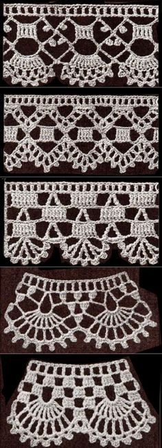 If you looking for a great border for either your crochet or knitting project, check this interesting pattern out. When you see the tutorial you will see that you will use both the knitting needle and crochet hook to work on the the wavy border. Crochet Edging Patterns, Crochet Lace Edging, Crochet Borders, Crochet Designs, Crochet Doilies, Crochet Flowers, Crochet Simple, Crochet Diy, Love Crochet