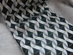 Stunning Black Silver and Gold Detail Vintage Silk Tie | RosesHeirlooms - Accessories on ArtFire
