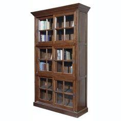 Furniture Classics Single Stack Sliding Door Solid Oak Wood Bookcase