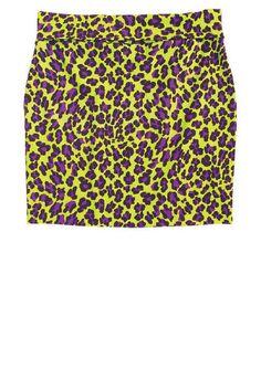Animal print bodycon skirt with seamed waistband.