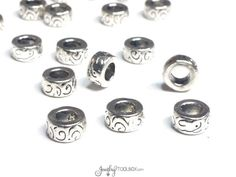 Large Hole Rondelle Beads, Silver Pewter Spacers, Metal Beads, 5x10mm, 5mm hole, Lead Free, Lot Size 8 to 30,  #1351 BH