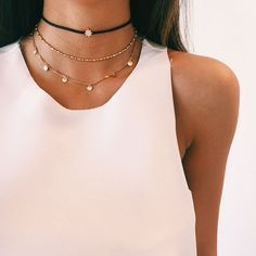 Layered necklaces, chokers
