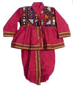 Gujrati Style Red Pyjama Dhoti, and Kurta  with Colorful Embroidery and Mirrorwork (Cotton Cloth)