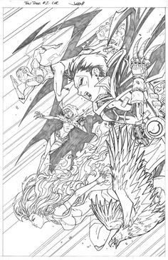 Teen Titans Issue 2 Cover, in JonboyMeyers's Art For Sale Comic Art Gallery Room