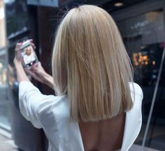 41 Lob Haircut Ideas For Women - HOW-TO: Grown-out Ombre Transformed into an Edgy, Blonde Lob -What is a lob? Step by step easy tutorials on how to cut your hair for a lob haircut and amazing ideas for layered, and straight lobs. Ideas for lobs with bangs, thick hair, wavy and thin hair. For long hair and medium hair. For round faces and sharp features - thegoddess.com/lob-haircut-ideas-women