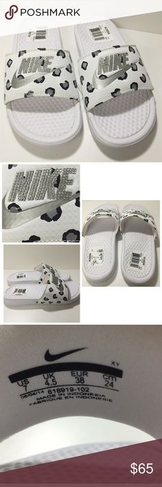 Blinged out custom Nike slides Blinged out custom Nike womens slides. White with black and silver cheetah print. Silver crystals, silver swoosh with no crystals. Never been worn, nwt. Size No missing jewels! Nike Shoes Cheap, Nike Free Shoes, Nike Shoes Outlet, Running Shoes Nike, Bling Flip Flops, Nike Slippers, Nike Free Runners, Bling Shoes, Fashion Shoes