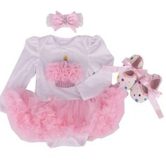 >> Click to Buy << Cake Girls Birthday Tutu Outfits Long Sleeve Romper Dress Crib Shoes Headband Newborn Tutu Sets 3 Piece Baby Girl Clothing Set #Affiliate