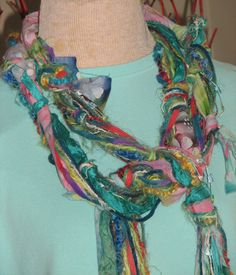 Knotty Scarves made from fabric scraps decorative yarns by UpCDooZ, $24.00