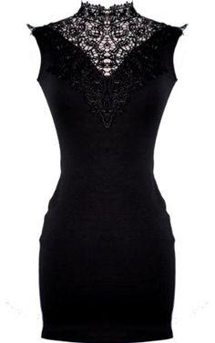 black lace detailed dress