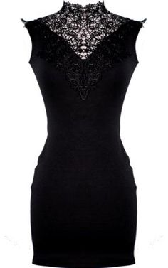 black lace detailed dress