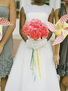Pinwheels with patterns and peonies. I guess this was an alliteration wedding. :)