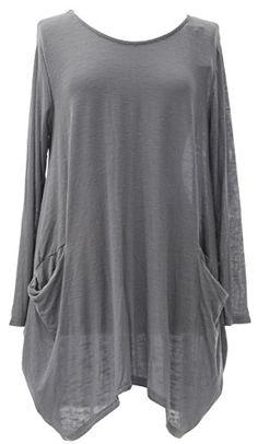 Ladies Womens Italian Lagenlook Quirky Long Sleeve Fine Knit 2 Pocket  Casual Tunic Dress Top Curve