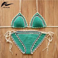 Sexy Handmade Crochet Bikini women crochet Swimsuit Brazilian biquini 2016 Crochet Swimwear Bathing Suit fashion beach suit