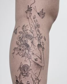 Fine line tattoo by Jessica Joy. Jessica Joy is one of the most popular artists in modern tattoo art. For more details →View Website Modern Tattoos, Dope Tattoos, Unique Tattoos, Leg Tattoos, Body Art Tattoos, Small Tattoos, Tattoos For Guys, Dr Tattoo, Tattoo Art