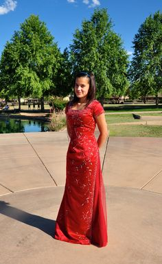Red Beaded Long Formal Gown