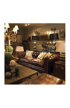 canap 3 places en cuir marron cognac hooper maisons du monde salons en 2019 d co salon. Black Bedroom Furniture Sets. Home Design Ideas