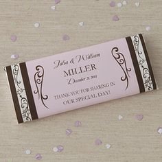 wedding candy bar | Personalized Wedding Favor Candy Bar Wrappers - Filigree - 8117