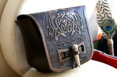Leather Belt Bag with Celtic Beasts-Celtic Knot Work Leather Belt Bag-Tooled Leather Belt Bag-Brown Leather Belt Bag. $125.00, via Etsy.
