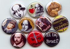 Shakespeare William English poet and playwright Bard of Avon pinback button set by on Etsy! Button Badge, 1 Button, Bumble Bee Jewelry, Bee Brooch, I Love Reading, Pin And Patches, Badges, Etsy, Playwright