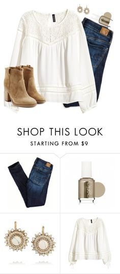 """""""Essie and earrings"""" by preppy-classy ❤ liked on Polyvore featuring American Eagle Outfitters, Essie, Elizabeth Cole, H&M and Laurence Dacade"""