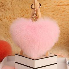 2016 Love Heart Fur Keychain Fake Fur Pom Pom Keychain porte clef pompom de fourrure pompon Bag Charms Valentine's Day Gift