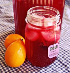 Homemade passion tea lemonade sweetened with agave nectar