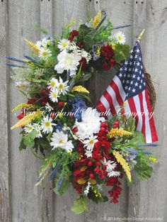 Beacon Hill Patriotic Celebration Wreath ~A New England Wreath Company Designer Original~ Patriotic Crafts, Patriotic Wreath, Patriotic Decorations, 4th Of July Wreath, Holiday Decorations, July Flowers, Flag Wreath, Theme Color, Summer Wreath