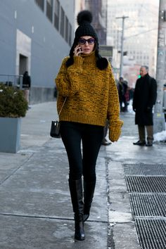 Street fashion: New York Fashion Week jesień-zima 2015/2016, fot. Imaxtree