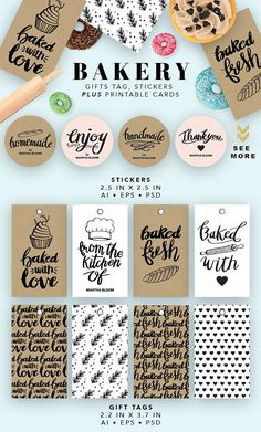 Bakery Printable Cards by Pixejoo on @creativemarket | Bakery | Graphic Design | Bakery Printables | Bakery Vectors | Bakery
