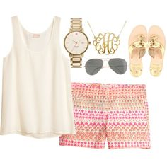 Printed shorts, summer, spring, monogram necklace, watch, white tank top