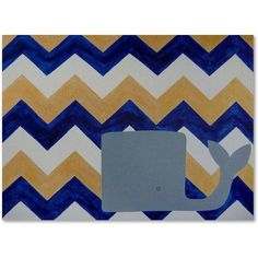 Trademark Fine Art Blue and Gold Whale Chevron Canvas Art by Nicole Dietz, Size: 18 x 24, Multicolor