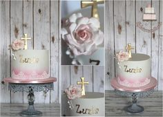 Pink gold and white Holy Communion cake  - Cake by Sylwia