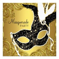 Black Gold Mask Masquerade Ball Party Personalized Announcements by Pure Elegance Gold Masquerade Mask, Masquerade Ball Party, Sweet 16 Masquerade, Masquerade Wedding, Halloween Masquerade, Halloween Party, Masquerade Party Invitations, Birthday Party Invitations, Quinceanera Invitations
