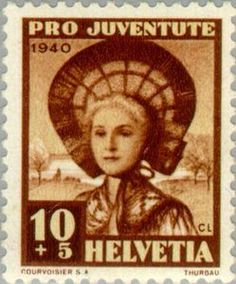 Stamp: Woman of Thurgau (Switzerland) (Pro Juventute: Traditional costumes, Gottfried Keller) Mi:CH Old Stamps, You've Got Mail, Postage Stamps, Ephemera, Switzerland, German, Traditional, Costumes, Gallery