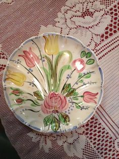Blue Ridge Pottery Flat Shell Relish in the Nove Rose pattern